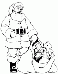 Santa Claus is preparing the bag of gifts