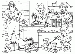 Santa Claus prepares gifts with gnomes