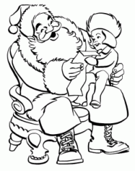 Santa Claus reads the letter with a little girl