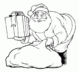 Santa Claus takes a gift from his bag