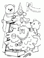 Teddy bears decorate the Christmas tree