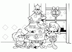 Two children decorate the Christmas tree