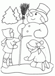 Two children make a snowman