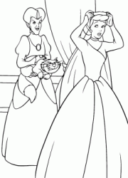 Cinderella moves away from her stepmother Lady Tremaine and Lucifer