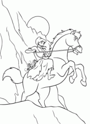 Cinderella on horseback with Gus and Jaq the two mice