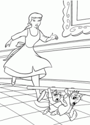 Cinderella runs behind Jaq and Gus the two mice