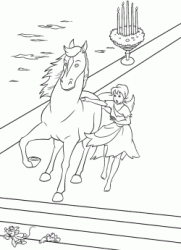 Cinderella stops the horse while Jaq and Gus escape