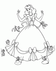 Mice and birds help Cinderella make her dress