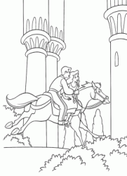 The Prince brings Cinderella on horseback