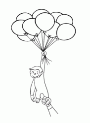 George tries to fly with balloons