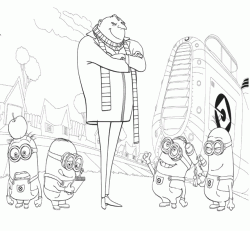 Gru and the Minions near the spaceship