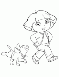 A dog follows Dora happy