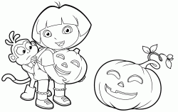 Boots hides behind Dora scared by a Halloween pumpkin
