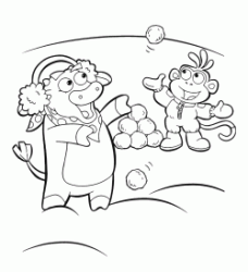 Boots the monkey and Benny the bull play with the snowballs