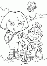 Dora and Boots found a flower