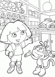 Dora and Boots happy inside a toy store
