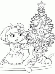 Dora And Boots In Front Of The Christmas Tree Look At Socks