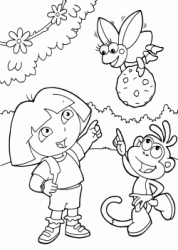 Dora and Boots indicate the insect carrying a ball of earth