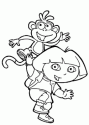 Dora and Boots jump together