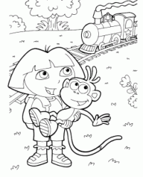 Dora and Boots look at the train that is passing