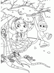 Dora and Boots look Tyco the squirrel into the trunk of a tree