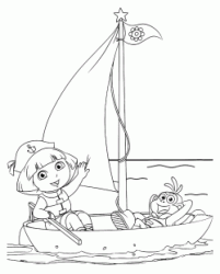 Dora and Boots on the sailboat