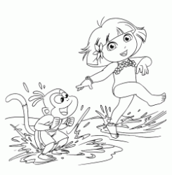 Dora and Boots play with water