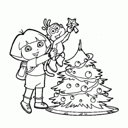 Dora and Boots prepare the Christmas tree