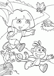 Dora and Boots run for the path