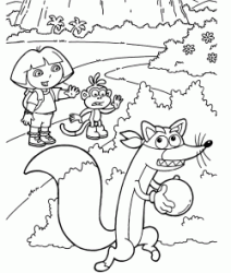 Dora and Boots try to stop Swiper stealing a ball