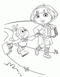 Dora and Boots walk on the street hand in hand