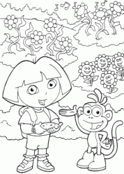 Dora and Boots watch the flowers dance at the rhythm of music