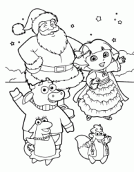 Dora and her friends Benny Isa Tyco with Santa Claus