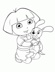 Dora holds a puppy dog in her arms