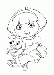 Dora holds a puppy in her arms