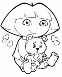 Dora in pajamas sitting with her teddy bear