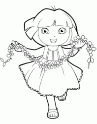 Dora is happy with a wreath of flowers in her hand