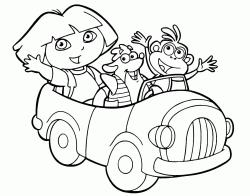 Dora is with Boots and Tyco on the car