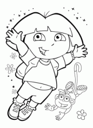 Dora jumps with the Boots monkey