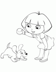 Dora plays with a dog puppy