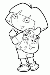 Dora points Backpack and Map