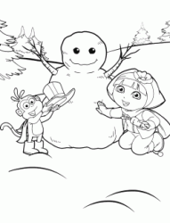 Dora the Explorer and Boots make a snowman