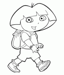Dora walks happy with her backpack