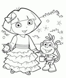 Dora wears a beautiful dress long while Boots holds a cup