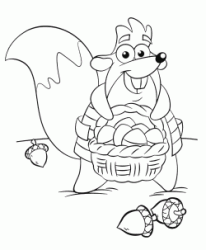 Tyco with a basket full of acorns