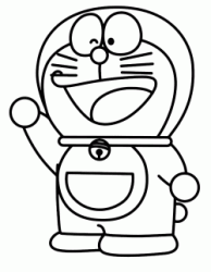 Doraemon is happy and greets with his hand