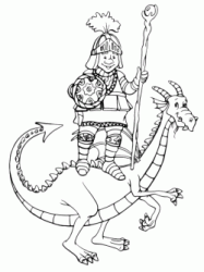 Dragon with a rider on its back