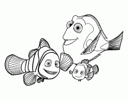 Dory Marlin and Nemo happily together