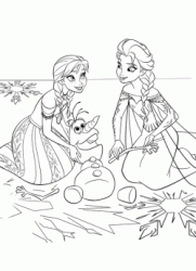 Elsa and Anna attempting to fix Olaf