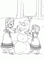 Elsa and Anna little girls play with the snowman Olaf